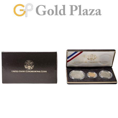 アメリカ議会200年記念コイン 金/銀/銅 3枚セット 1789-1989年 コレクターズアイテム【中古】