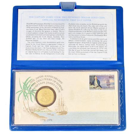 200ドル K21.6 イギリス領 コレクターズアイテム 200周年 キャプテンクック ジェームズ・クック 金貨 ハワイ発見記念 1978年 クック諸島