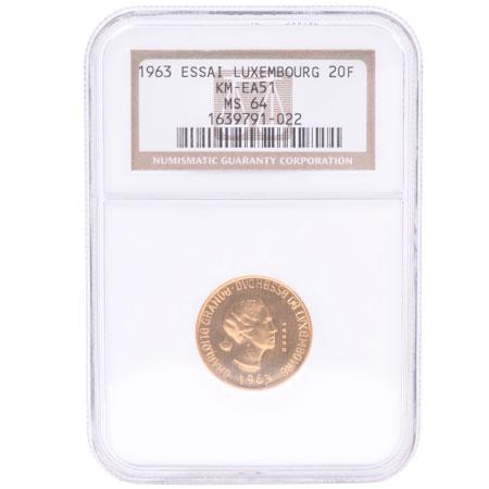 ルクセンブルグ 20フラン 試鋳貨 金貨 1963年 K21.6 6.45g MS64(NGC) コレクターズアイテム