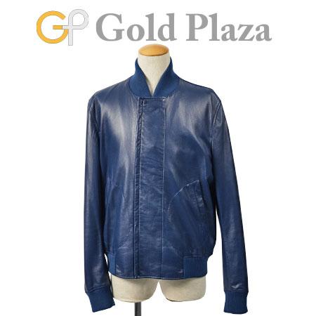 ボッテガ ヴェネタ BOTTEGA VENETA レザー ボンバー ジャケット ブルー サイズ:54 ラムスキン 336227 VZ303【中古】