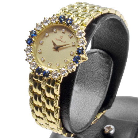 ウォルサム WALTHAM OH済 クオーツ式 腕時計 12Pダイヤ ダイヤ/サファイヤベゼル 750YG K18 451.10 レディース 6か月動作保証付【中古】