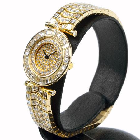 ヴァンクリーフ&アーペル Van Cleef & Arpels 全面ダイヤ 18K YG ヴィンテージ レディース コンプリートサービス済 クオーツ 腕時計 ALLダイヤモンド 6ヶ月動作保証付 代引きでのカード払い不可【中古】
