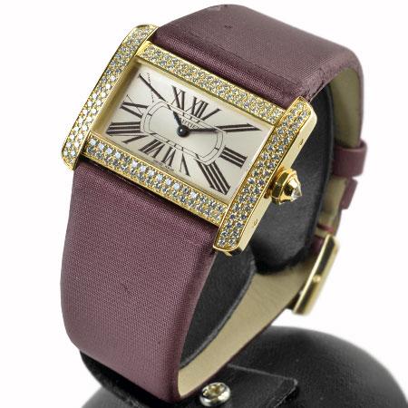訳あり カルティエ Cartier ミニ タンク ディヴァン ディバン K18YG イエローゴールド ダイヤベゼル 二重 クォーツ式 腕時計 メーカーコンプリートサービス済【中古】