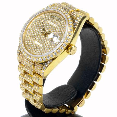 ロレックス ROLEX 【OH済】 デイデイト 18038 98番 全面ダイヤ K18YG 自動巻き 腕時計 ダイヤ文字盤・ベゼル 6か月動作保証付 代引きでのカード払い不可【中古】