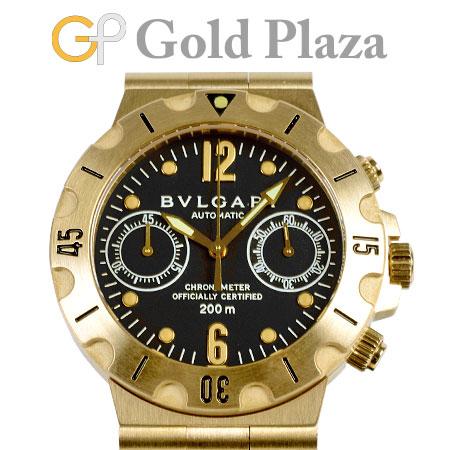 ブルガリ BVLGARI 【OH済】 ディアゴノ スクーバ クロノグラフ SC38G 【仕上げ済】 自動巻き メンズ 腕時計 ブラック文字盤 K18YG 6か月動作保証付 代引きでのカード払い不可【中古】