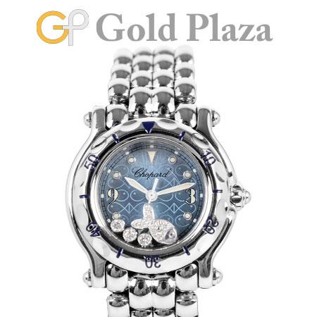 ショパール Chopard ハッピースポーツ 27/8926 3P ダイヤモンド ハッピーフィッシュ レディース 腕時計 クォーツ ブルー文字盤 SS【中古】