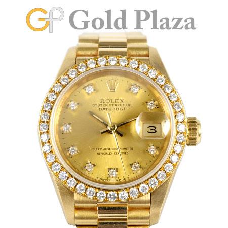 ロレックス ROLEX デイトジャスト 69138G E番 10P ダイヤモンド シャンパン文字盤 K18YG 自動巻き レディース 腕時計【中古】