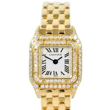 【先着!!クーポンで最大3万円オフ!12/1-3】カルティエ Cartier ミニ パンテール ベゼル 二重 ダイヤモンド K18YG レディース 腕時計 クォーツ WF3141B9 2360【中古】