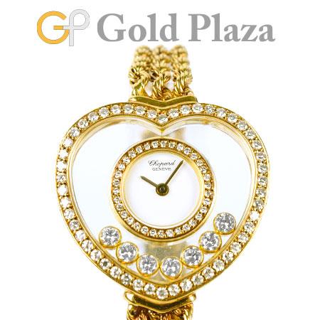 ショパール Chopard ハッピーダイヤモンド ハート 7P ダイヤモンド 2重ダイヤベゼル K18YG レディース 腕時計 クォーツ 20/4502 ホワイト文字盤【中古】