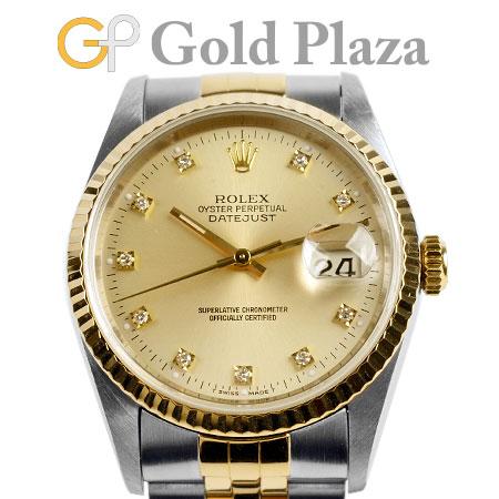 ロレックス ROLEX 【OH・仕上げ済】 デイトジャスト 16233G W番 10P ダイヤモンド 自動巻き 腕時計 シャンパン ステンレス×イエローゴールド【中古】