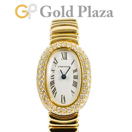 カルティエ Cartier ミニ ベニュワール 2重 ダイヤモンド ベゼル 仕上げ・電池交換済 クオーツ式 腕時計 WB5094W1 K18YG レディース 6か月動作保証付 代引きでのカード払い不可【中古】