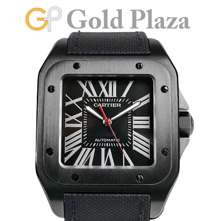 カルティエ Cartier サントス 100 カーボンウォッチ LM WSSA0006 メンズ 腕時計 自動巻き ステンレススチール レザーストラップ 6か月動作保証付 代引きでのカード払い不可【中古】