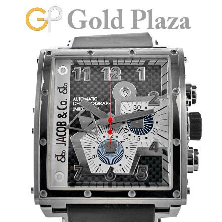 ジェイコブ JACOB&Co. エピック1 クロノグラフ JC-Q1 ステンレス×チタニウム メンズ 腕時計 自動巻き ラバーストラップ ブラック文字盤 EPIC1【中古】