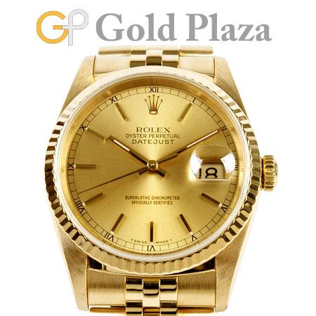 ロレックス ROLEX デイトジャスト 16238 R番 自動巻き 腕時計 シャンパン文字盤 K18YG メンズ【中古】