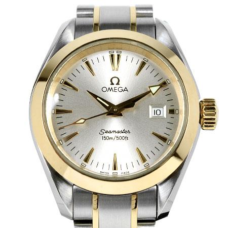 オメガ OMEGA シーマスター アクアテラ 150m SS×K18YG レディース 腕時計 クォーツ シルバー文字盤 2377.30【中古】