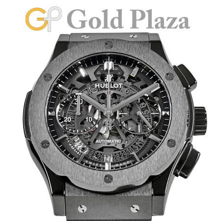 ウブロ HUBLOT アエロ フュージョン ブラックマジック 45mm 525.CM.0170.RX SS(PVD)×ラバー メンズ 腕時計 自動巻 クロノグラフ シースルーバック クラシック フュージョン【中古】