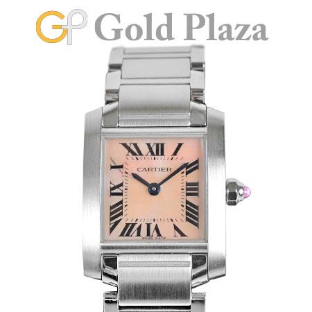 カルティエ Cartier タンク フランセーズ SM W51028Q3 SS ピンクシェル文字盤 レディース 腕時計 クォーツ【中古】