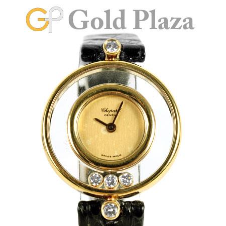 ショパール Chopard ハッピーダイヤモンド 5P ダイヤ K18YG × レザーベルト レディース 腕時計 クォーツ 20/4802 ゴールド文字盤【中古】