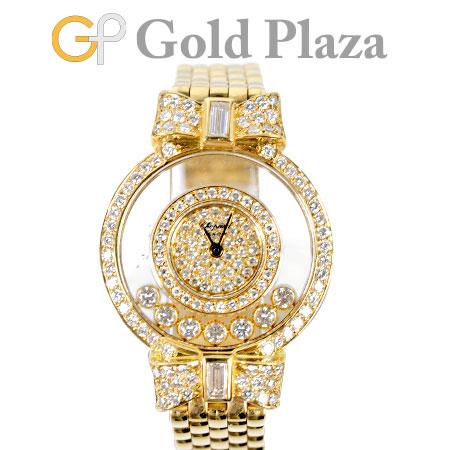 【先着!!クーポンで最大3万円オフ!12/1-3】ショパール Chopard ハッピーダイヤモンド リボン 7P ダイヤモンド 全面ダイヤ K18YG レディース 腕時計 クォーツ 4097/1【中古】
