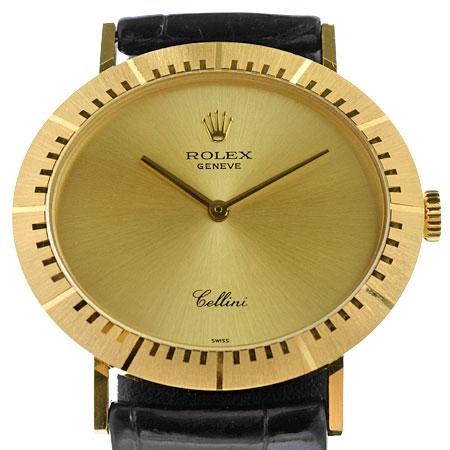 ロレックス ROLEX チェリーニ 4083/8 W番 メンズ 時計 手巻き ゴールド文字盤 革ベルト【中古】