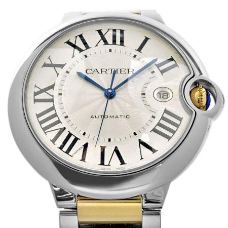 カルティエ Cartier バロンブルー ドゥ カルティエ LM メンズ 時計 SS×YG 自動巻き シルバー文字盤 W6900923【中古】