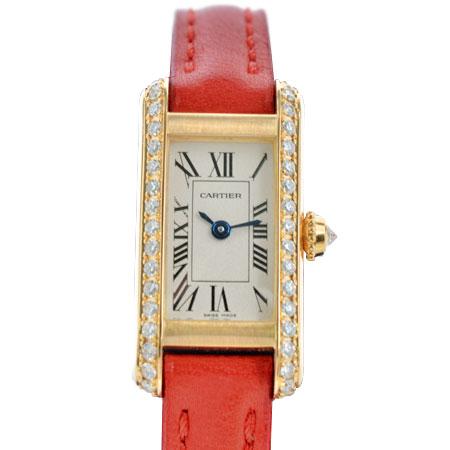 カルティエ Cartier タンク アロンジェ ダイヤモンド ベゼル WB300531 レディース 腕時計 K18YG クォーツ Dバックル 革ベルト 白文字盤【中古】