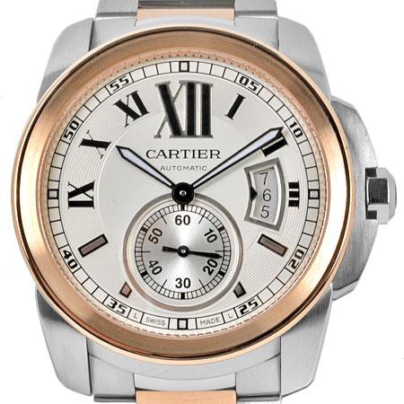 カルティエ Cartier カリブル ドゥ カルティエ シースルーバック SS×PG メンズ 時計 自動巻き シルバー文字盤 W7100036【中古】