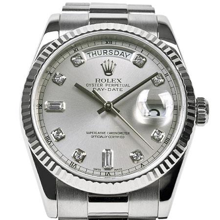 ロレックス ROLEX デイデイト 118239A Y番 自動巻き メンズ 腕時計 シルバー文字盤 10P ダイヤモンド K18WG【中古】