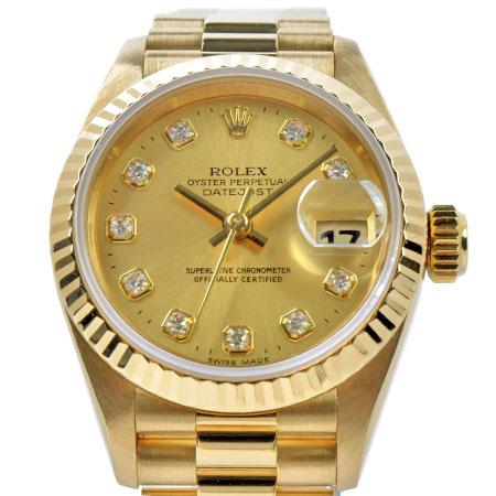 ロレックス ROLEX デイトジャスト 69178G 10P ダイヤモンド T番 SS×K18YG 時計 自動巻き シャンパン文字盤【中古】