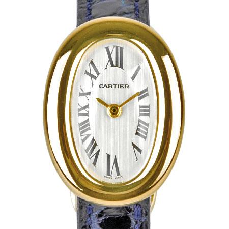 カルティエ Cartier ミニ ベニュワール K18YG レディース 時計 クォーツ シルバー文字盤 【中古】