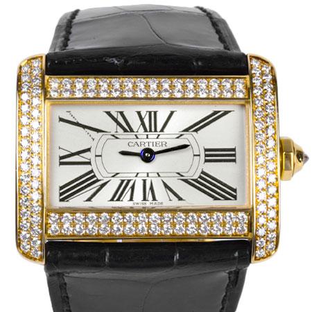 カルティエ Cartier ミニ タンク ディヴァン 2重 ダイヤモンド ベゼル K18YG レディース 時計 クォーツ シルバー文字盤 WA301071【中古】