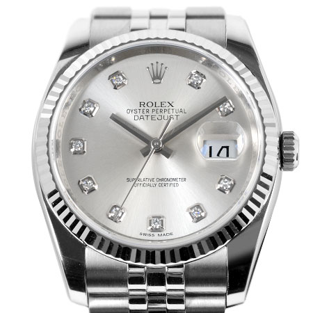 ロレックス ROLEX デイトジャスト 116234G 10P ダイヤモンド ランダム番 自動巻き メンズ 腕時計 シルバー文字盤 SS×WG【中古】