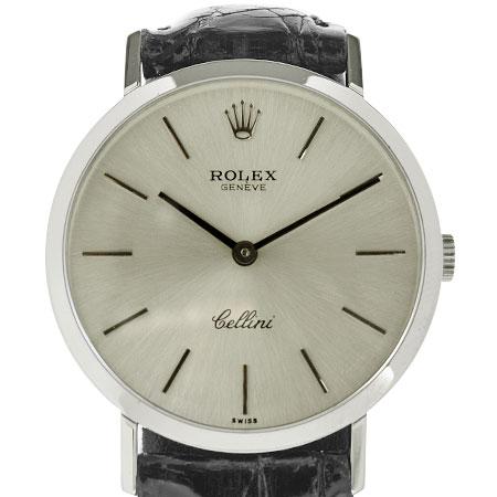 ロレックス ROLEX チェリーニ K18WG メンズ 腕時計 手巻き シルバー文字盤 革ベルト 4112【中古】