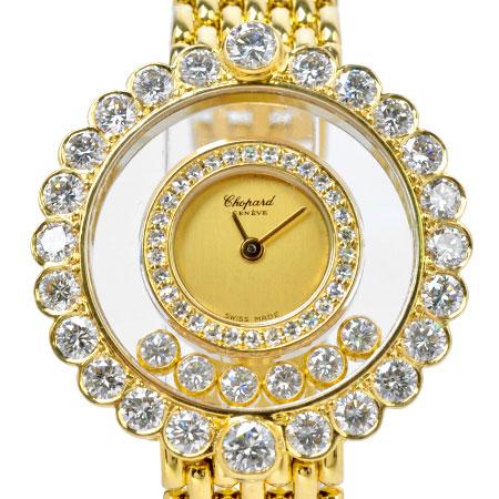 ショパール Chopard ハッピーダイヤモンド 6P ムービングダイヤ 2重ダイヤベゼル K18YG レディース 時計 クォーツ 20/4180【中古】