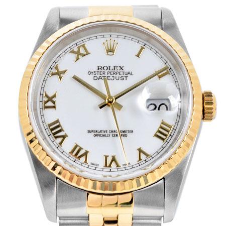 ロレックス ROLEX デイトジャスト 16233 P番 メンズ 自動巻き 時計 ホワイト ローマン SS×YG【中古】