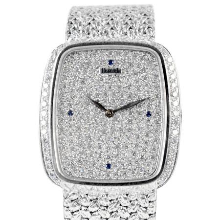 ピアジェ PIAGET トラディション 手巻き メンズ 腕時計 スクエア K18WG ダイヤモンド 文字盤 9765D2【中古】