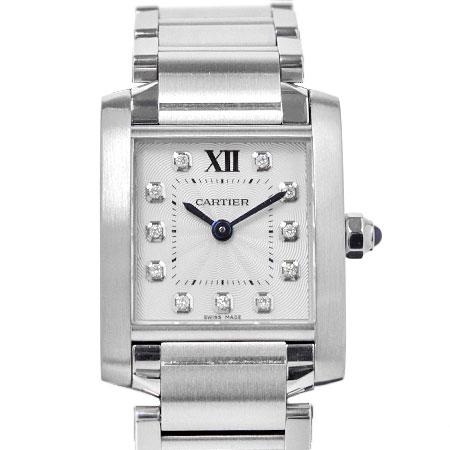 カルティエ Cartier タンク フランセーズ SM SS 11P ダイヤモンド シルバー文字盤 レディース 腕時計 クォーツ WE110006【中古】