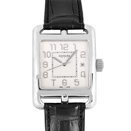 HERMES K18WG 時計 ケープコッド メンズ エルメス CD1.890 シースルーバック【中古】 自動巻き 白文字盤 HES