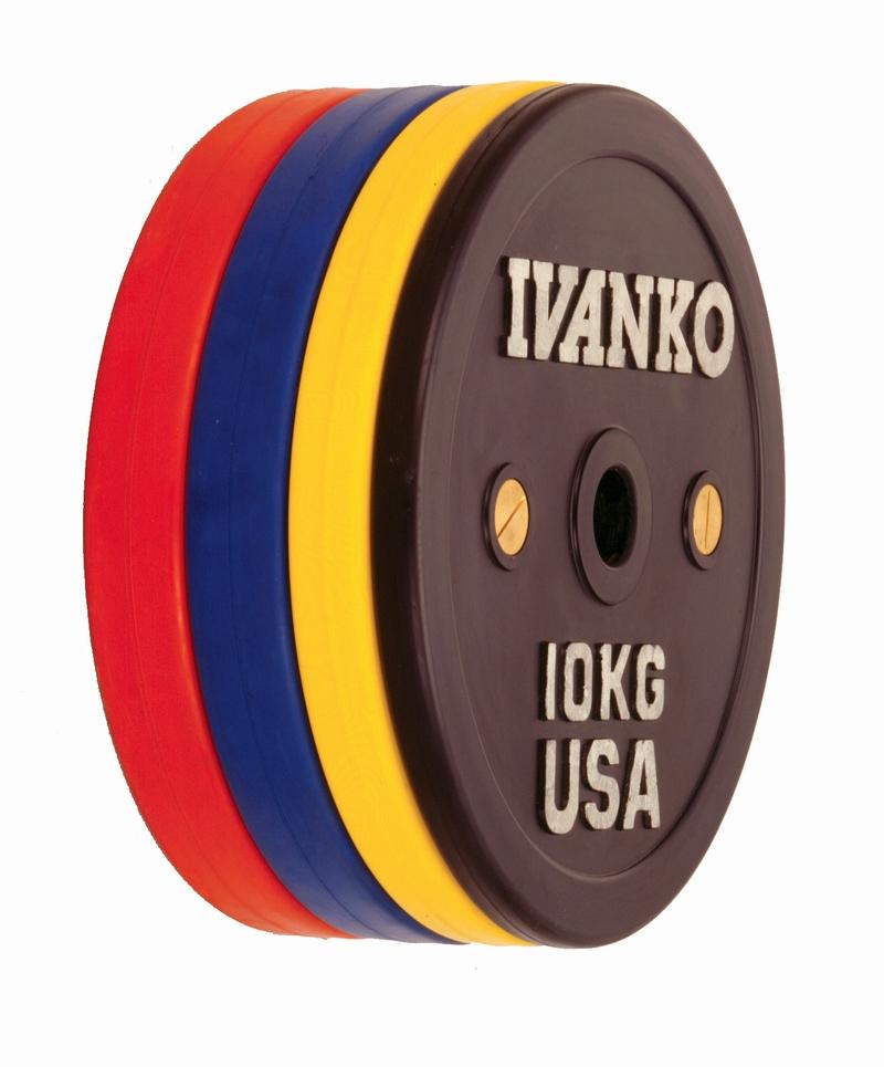 【Φ50mm高品質バーベルプレート】IVANKO(イヴァンコ社製競技用プレートラバーウェイトリフティングオリンピックプレート15kg OCB-15