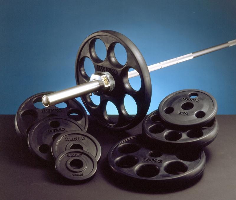 【Φ50mm高品質バーベルプレート】IVANKO(イヴァンコ社製エクササイズプレートオリンピックラバーイージーグリッププレート 10kg ROEZH-10