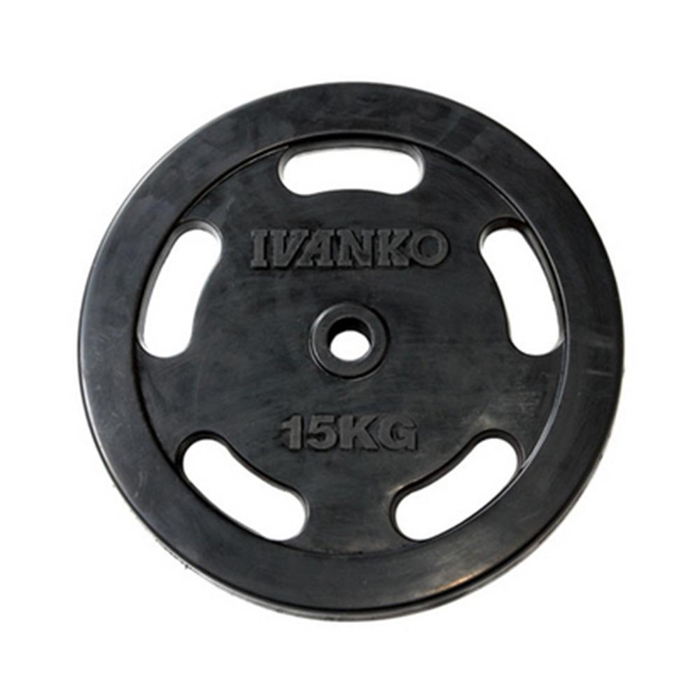 【Φ28mm高品質バーベルプレート】IVANKO(イヴァンコ)社製スタンダードラバーイージーグリッププレート 15kg RUBKZ-15