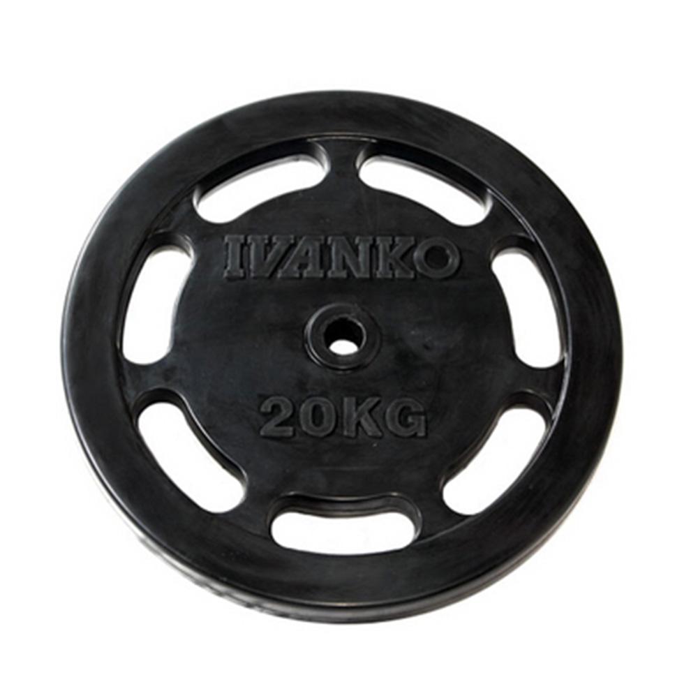 【Φ28mm高品質バーベルプレート】IVANKO(イヴァンコ)社製スタンダードラバーイージーグリッププレート 20kg RUBKZ-20【現在入荷待ちです】