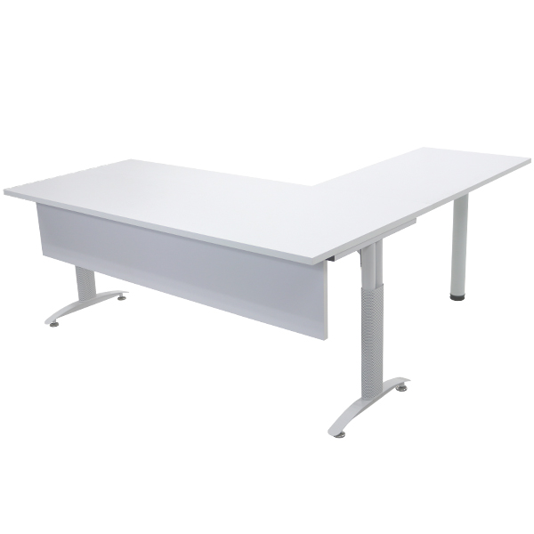 Desk L Form Office Table Corner Furniture Company White T016180whl03260 Having Shaped Curtain Starting Performing Before The