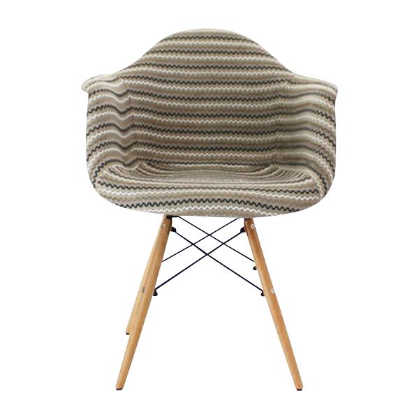 送料無料 新品 PP20G イームズチェア イームズ アームシェルチェア DAW arm shell chair ファブリック シェルサイドチェア ウッドベース ストライプ ベージュ