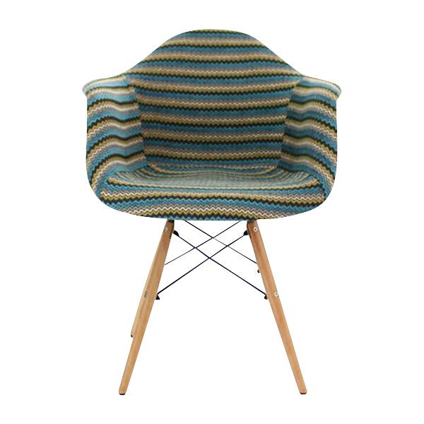 送料無料 新品 PP20G イームズチェア イームズ アームシェルチェア DAW arm shell chair ファブリック シェルサイドチェア ウッドベース ストライプ ブルー