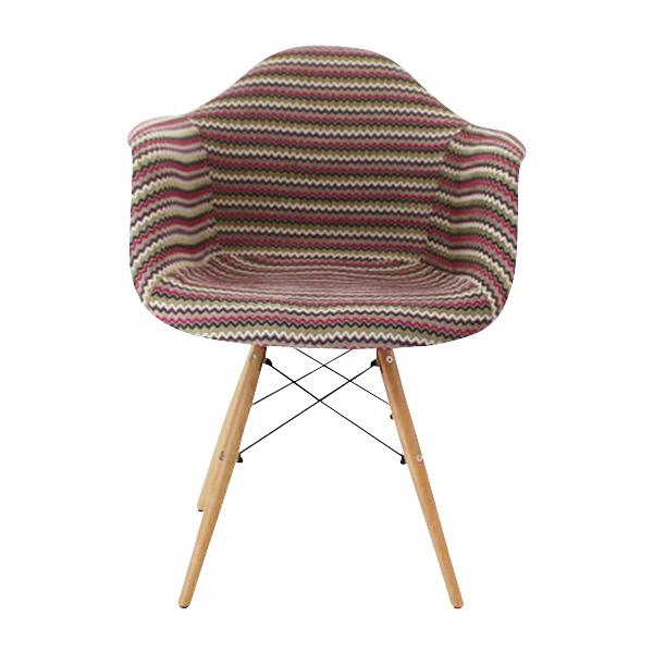 送料無料 新品 PP20G イームズチェア イームズ アームシェルチェア DAW arm shell chair ファブリック シェルサイドチェア ウッドベース ストライプ レッド