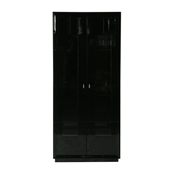 送料無料 新品 大型 2door キャビネット コレクションボード 飾り棚 完成品 ブラック