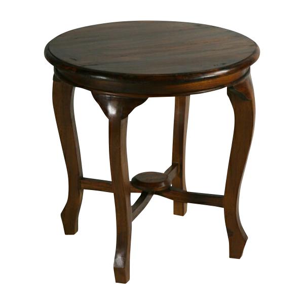 送料無料 新品 チーク無垢 ラウンド サイドテーブル 花台 チーク材 無垢材 チーク T-361-ブラウン