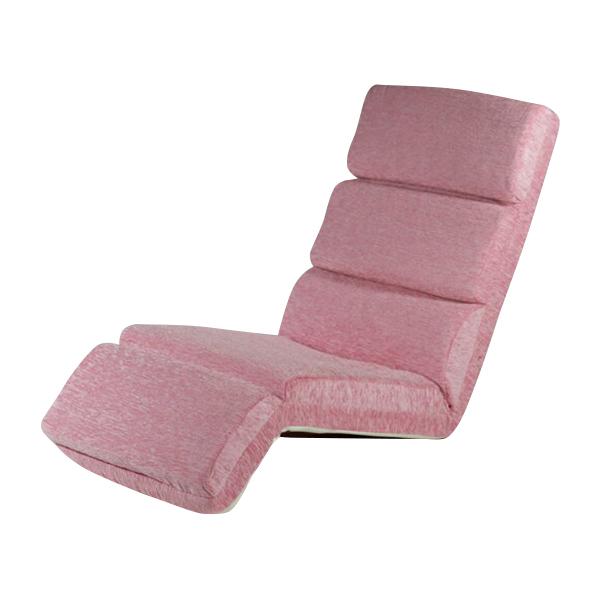 送料無料 新品 14段階調節可能 フロアチェア リクライニング 座椅子 フロアベッド ピンク 20