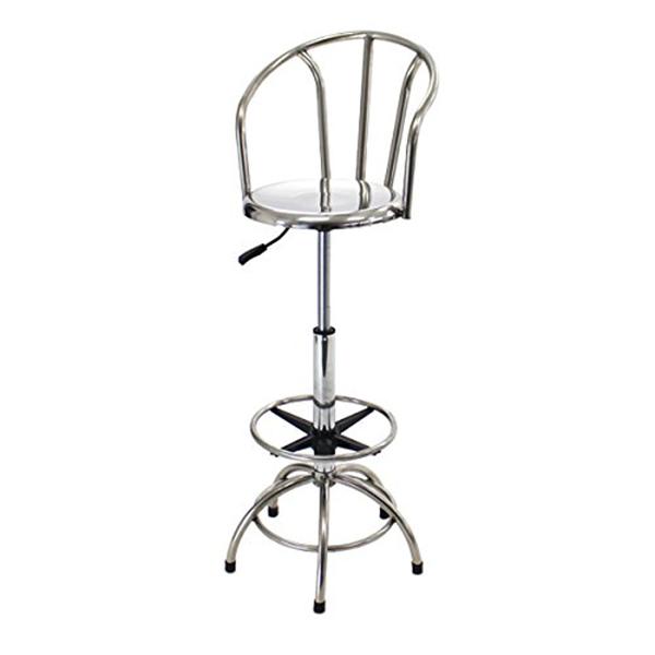 送料無料 新品 ステンレス製 カウンターハイチェア バックレスト 背もたれ 座回転椅子 座径35cm W44.5×D44.5×H101~126cm 脚置き ガス圧 昇降 バーチェア カウンターチェア バー カウンター ハイチェア チェア ハイスツール スツール 椅子 イス いす 丸椅子 t45c
